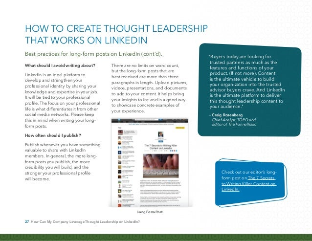 28 How Can My Company Leverage Thought Leadership on LinkedIn? Don't think that thought leadership is reserved for compani...