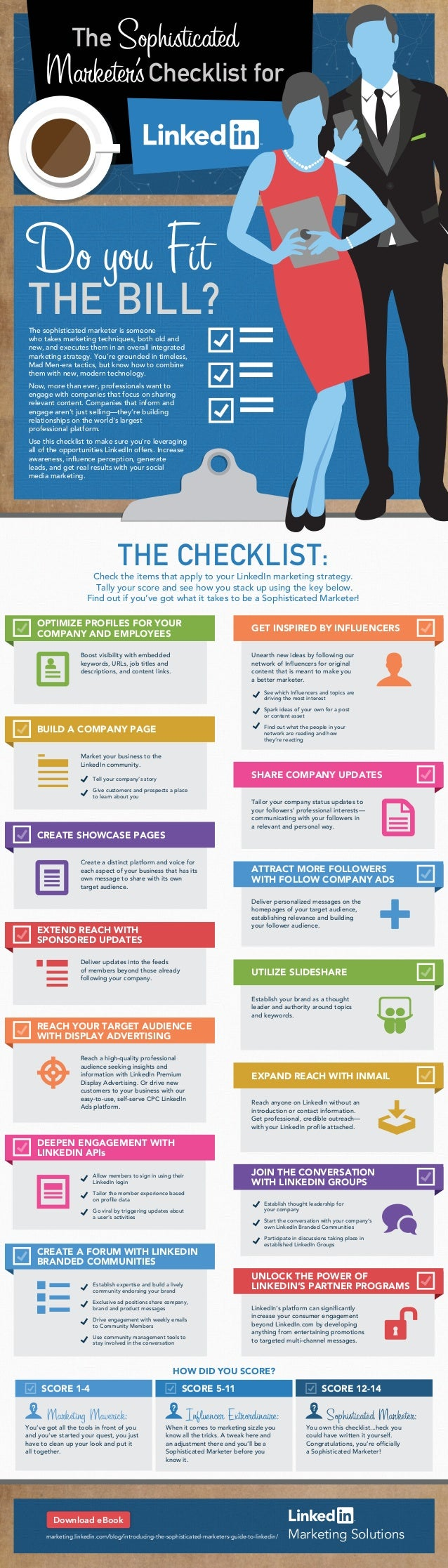 the sophisticated marketer's checklist for linkedin [infographic]