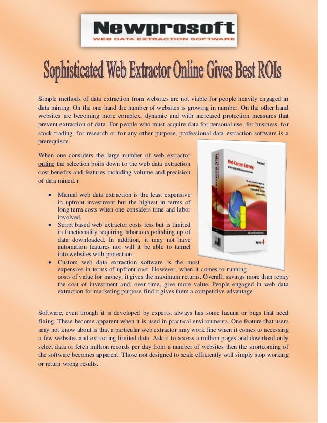 Sophisticated Web Extractor Online Gives Best ROIs