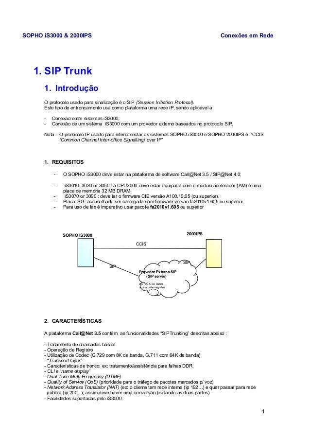 SOPHO iS3000 & 2000IPS Conexões em Rede  1. SIP Trunk  1. Introdução  O protocolo usado para sinalização é o SIP (Session ...