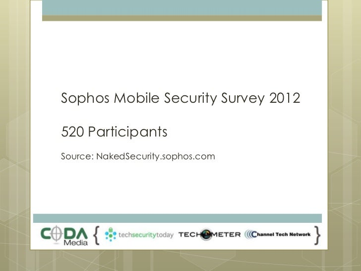 Sophos Mobile Security Survey 2012520 ParticipantsSource: NakedSecurity.sophos.com