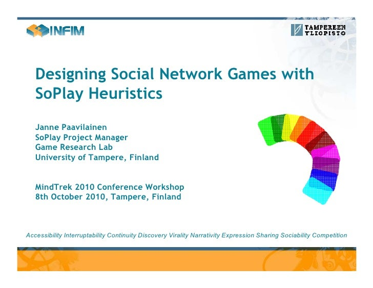 Designing Social Network Games with    SoPlay Heuristics    Janne Paavilainen    SoPlay Project Manager    Game Research L...