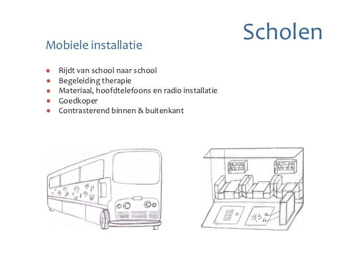 Mobiele installatie                                                  Scholen  Rijdt van school naar school  Begeleiding t...
