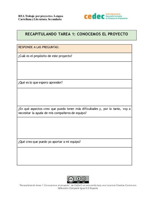 """REA Trabajo por proyectos.Lengua Castellana y Literatura. Secundaria """"Recapitulando tarea 1: Conocemos el proyecto"""", de Ce..."""