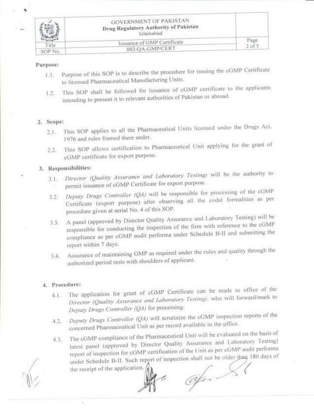 SOPs for GMP Certificate