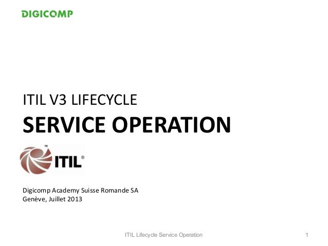 ITIL V3 LIFECYCLE SERVICE OPERATION Digicomp Academy Suisse Romande SA Genève, Juillet 2013 ITIL Lifecycle Service Operati...