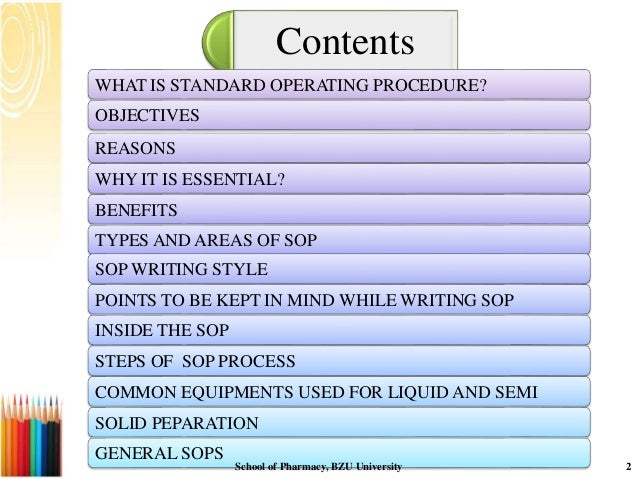 ... 2. Contents WHAT IS STANDARD OPERATING PROCEDURE?