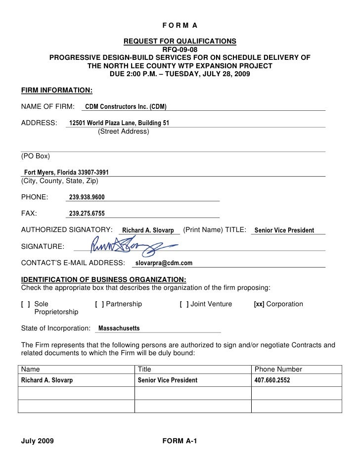 FORM A                            REQUEST FOR QUALIFICATIONS                                      RFQ-09-08          PROGR...