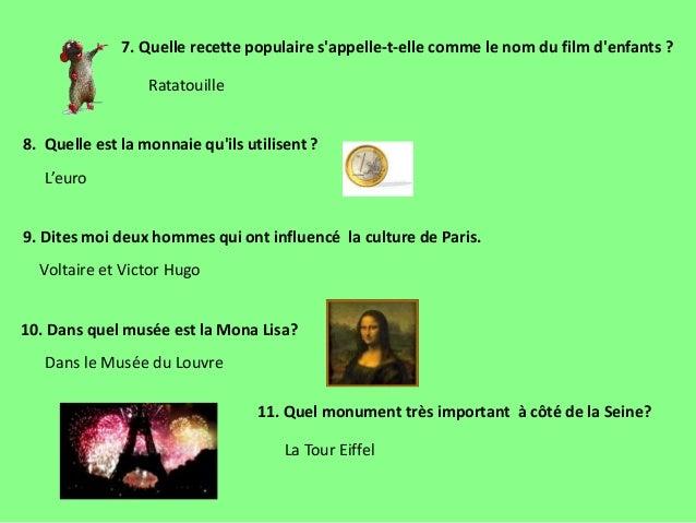 7. Quelle recette populaire s'appelle-t-elle comme le nom du film d'enfants ? 8. Quelle est la monnaie qu'ils utilisent ? ...