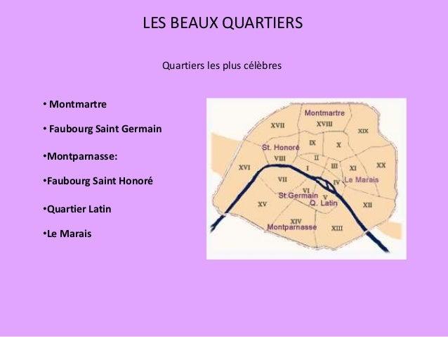 LES BEAUX QUARTIERS Quartiers les plus célèbres • Montmartre • Faubourg Saint Germain •Montparnasse: •Faubourg Saint Honor...