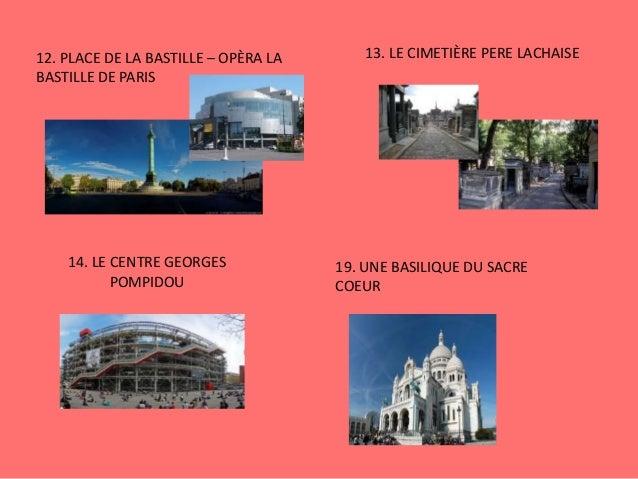 12. PLACE DE LA BASTILLE – OPÈRA LA BASTILLE DE PARIS 13. LE CIMETIÈRE PERE LACHAISE 14. LE CENTRE GEORGES POMPIDOU 19. UN...