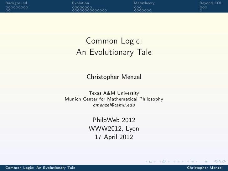 Background                      Evolution               Metatheory            Beyond FOL                                  ...