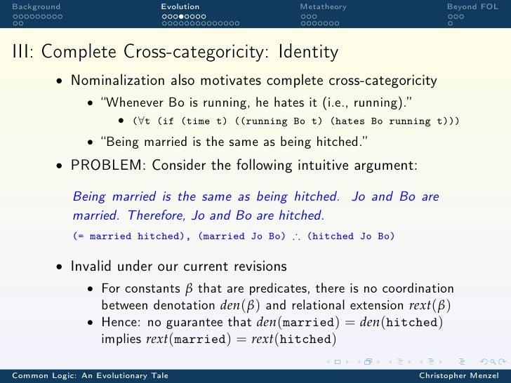 Background                      Evolution            Metatheory                Beyond FOLIII: Complete Cross-categoricity:...