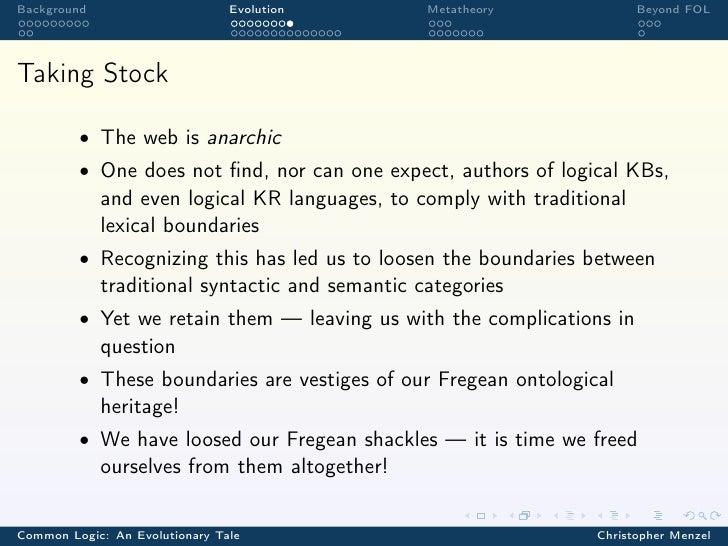 Background                      Evolution        Metatheory              Beyond FOLTaking Stock         • The web is anarc...