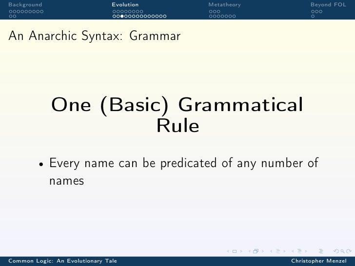 Background                      Evolution   Metatheory         Beyond FOLAn Anarchic Syntax: Grammar             One (Basi...