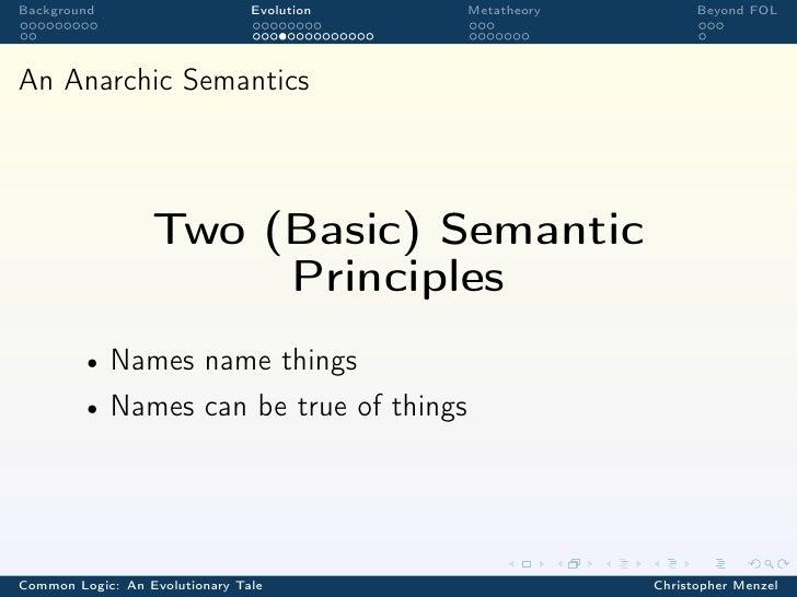 Background                      Evolution   Metatheory         Beyond FOLAn Anarchic Semantics                  Two (Basic...