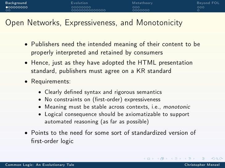 Background                      Evolution            Metatheory               Beyond FOLOpen Networks, Expressiveness, and...