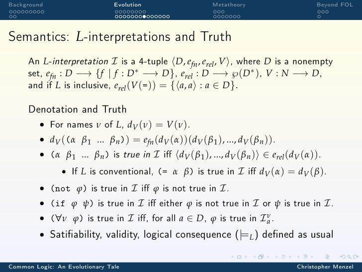 Background                      Evolution                Metatheory                    Beyond FOLSemantics: L-interpretati...