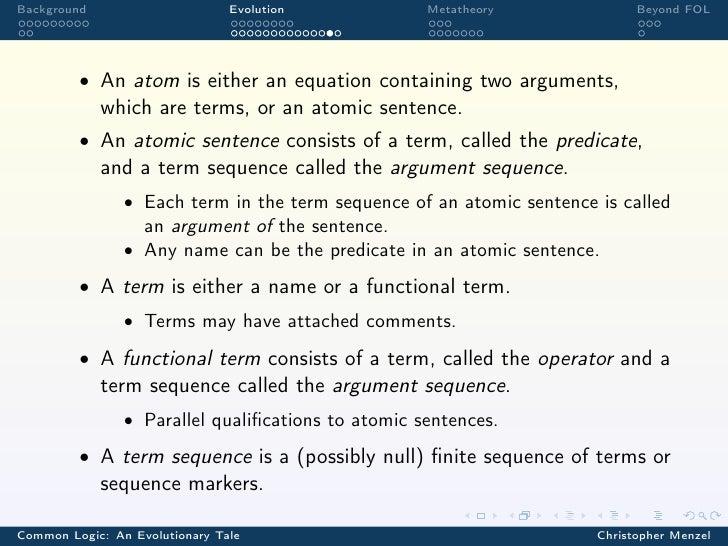 Background                      Evolution           Metatheory               Beyond FOL         • An atom is either an equ...