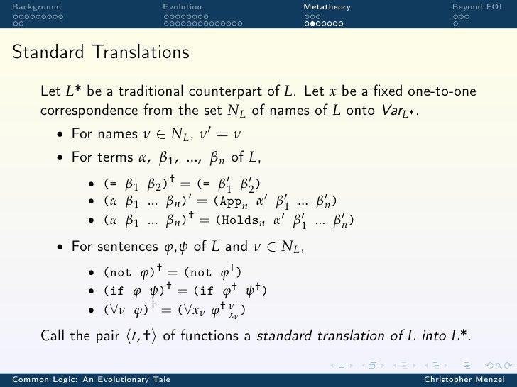 Background                      Evolution           Metatheory               Beyond FOLStandard Translations      Let L* b...