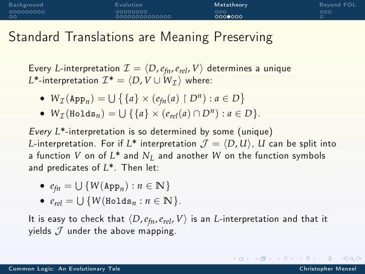 Background                      Evolution            Metatheory                  Beyond FOLStandard Translations are Meani...