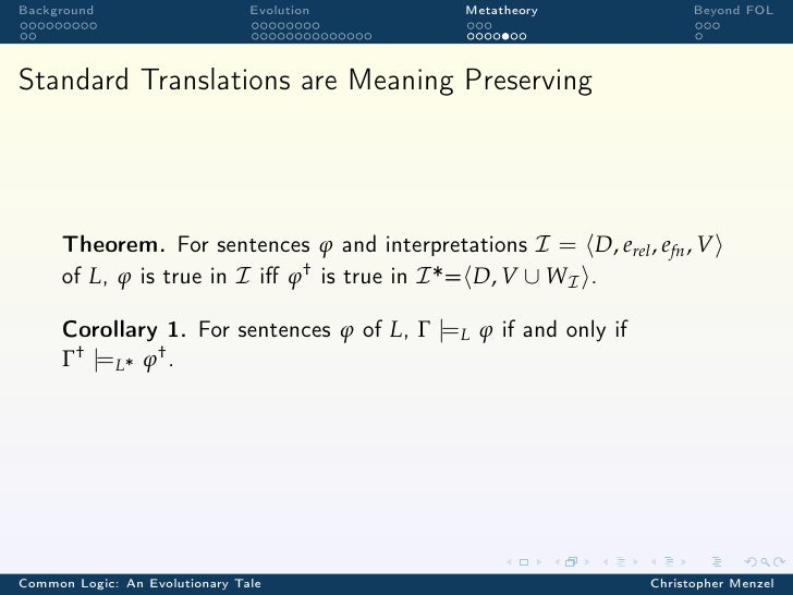 Background                      Evolution     Metatheory                Beyond FOLStandard Translations are Meaning Preser...