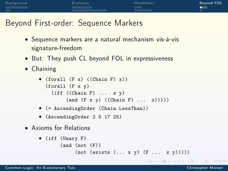 Background                      Evolution      Metatheory               Beyond FOLBeyond First-order: Sequence Markers    ...