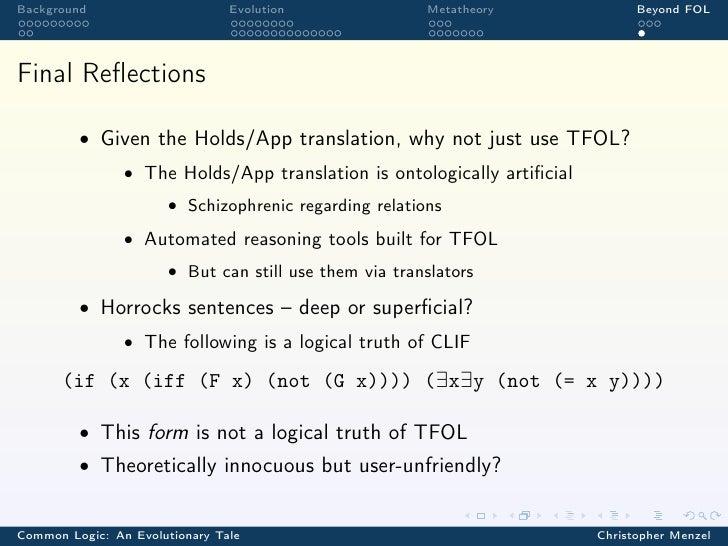 Background                      Evolution               Metatheory             Beyond FOLFinal Reflections         • Given ...