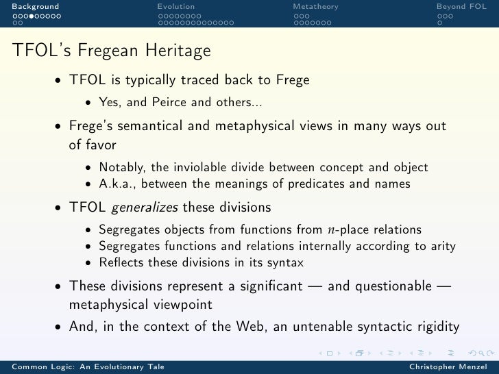 Background                      Evolution           Metatheory                 Beyond FOLTFOL's Fregean Heritage         •...