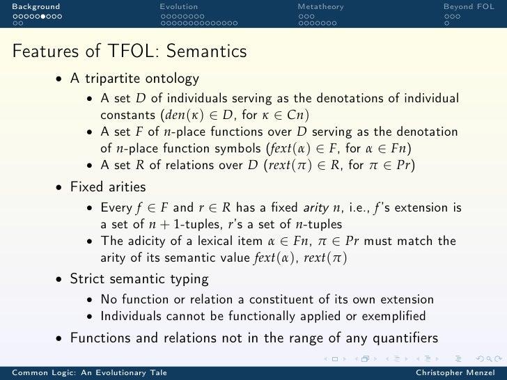 Background                      Evolution          Metatheory                 Beyond FOLFeatures of TFOL: Semantics       ...