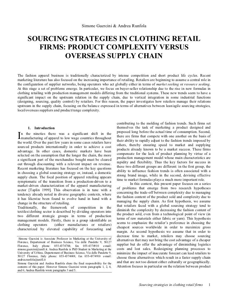 Simone Guercini & Andrea Runfola        SOURCING STRATEGIES IN CLOTHING RETAIL          FIRMS: PRODUCT COMPLEXITY VERSUS  ...