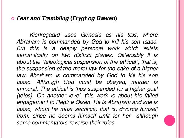 kierkegaards fear and trembling Walter lowrie's classic, bestselling translation of soren kierkegaard's most important and popular books remains unmatched for its readability and literary quality fear and trembling and the sickness unto death established kierkegaard as the father of existentialism and have come to define his contribution to philosophy lowrie's.