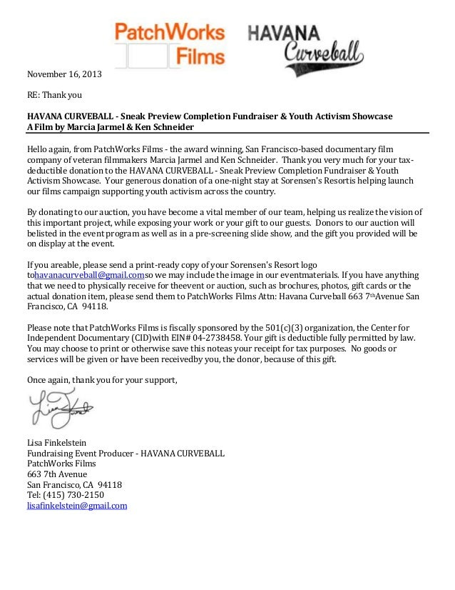 November 16, 2013 RE: Thank you HAVANA CURVEBALL - Sneak Preview Completion Fundraiser & Youth Activism Showcase A Film by...
