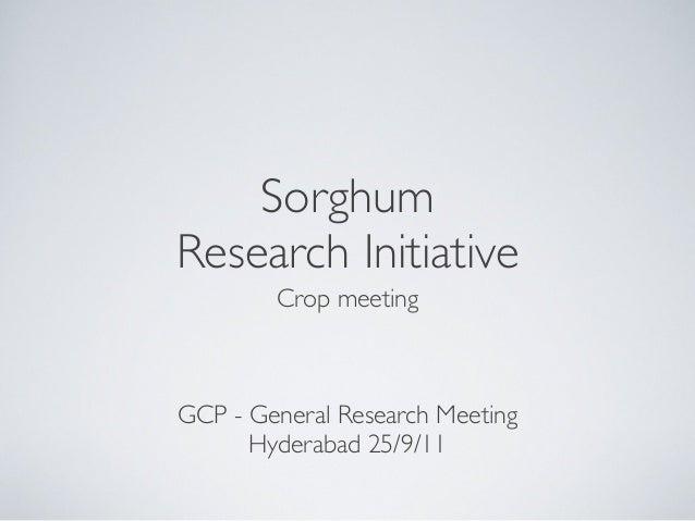 SorghumResearch InitiativeCrop meetingGCP - General Research MeetingHyderabad 25/9/11