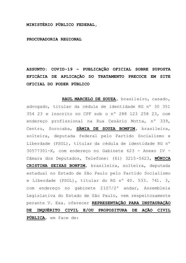 MINISTÉRIO PÚBLICO FEDERAL, PROCURADORIA REGIONAL ASSUNTO: COVID-19 – PUBLICAÇÃO OFICIAL SOBRE SUPOSTA EFICÁCIA DE APLICAÇ...