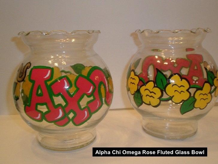 Alpha Chi Omega Rose Fluted Glass Bowl