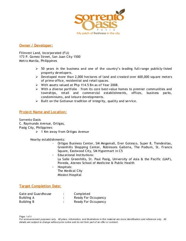 Owner / Developer:Filinvest Land, Incorporated (FLI)173 P. Gomez Street, San Juan City 1500Metro Manila, Philippines 50 y...