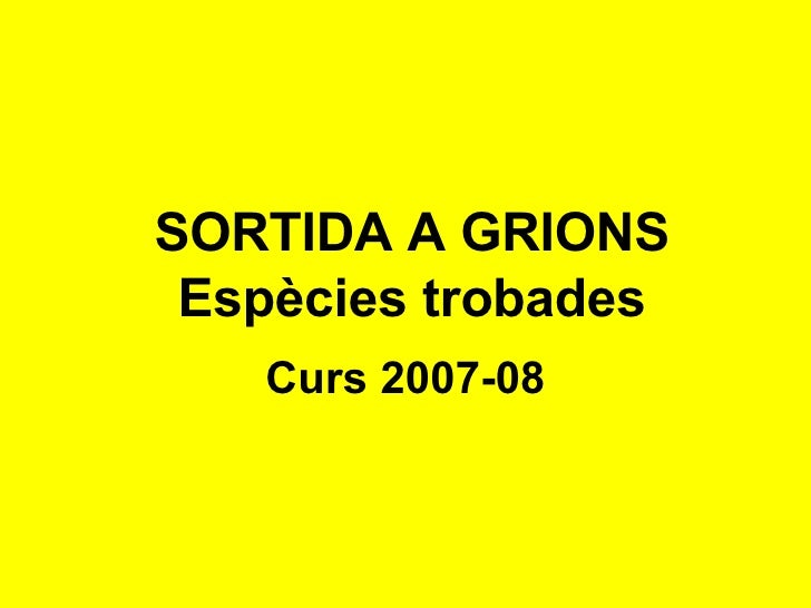 SORTIDA A GRIONS Espècies trobades Curs 2007-08