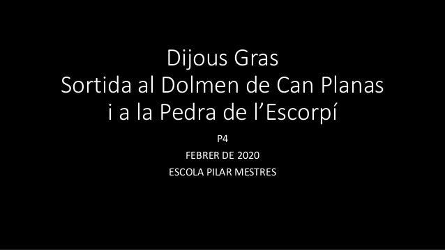 Dijous Gras Sortida al Dolmen de Can Planas i a la Pedra de l'Escorpí P4 FEBRER DE 2020 ESCOLA PILAR MESTRES