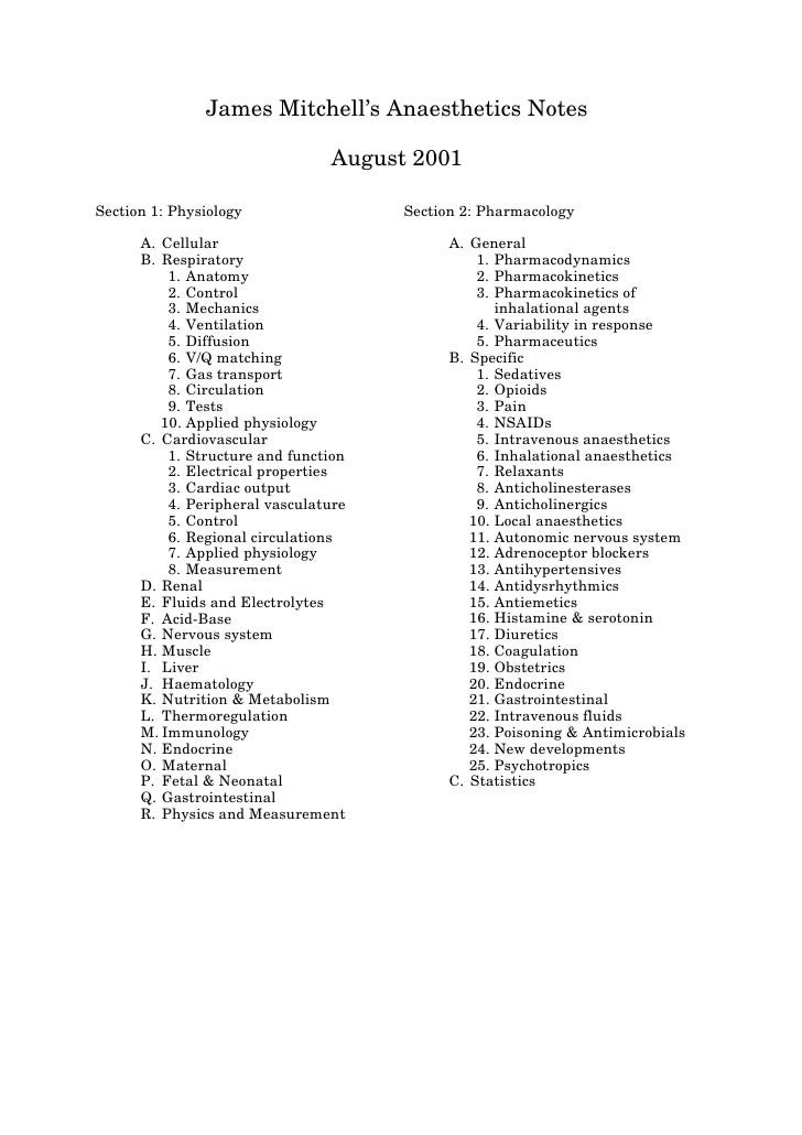 JamesMitchell'sAnaestheticsNotes                                  August2001  Section1:Physiology                 Se...