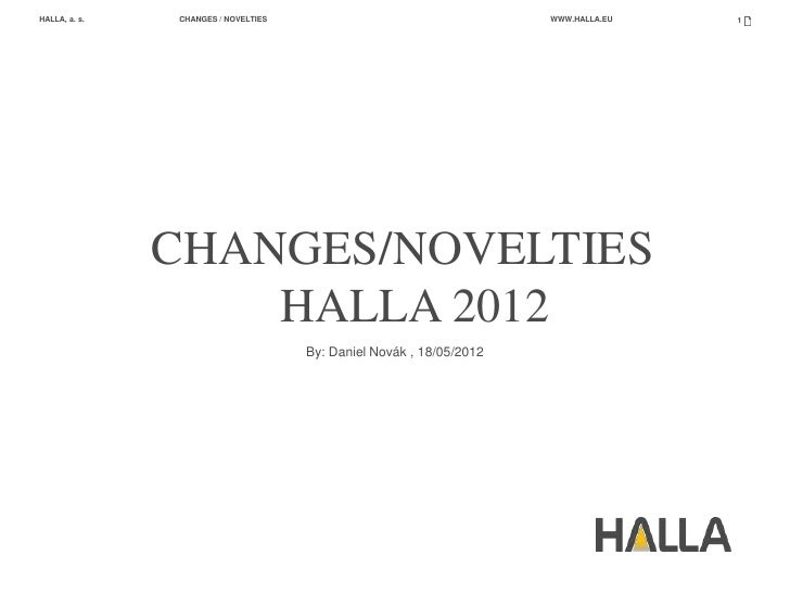 HALLA, a. s.   CHANGES / NOVELTIES                                   WWW.HALLA.EU   1               CHANGES/NOVELTIES     ...