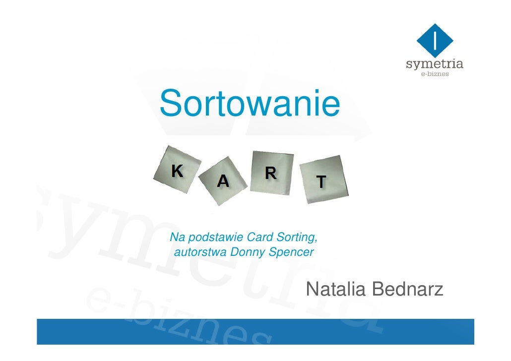 Sortowanie   Na podstawie Card Sorting, autorstwa Donny Spencer                          Natalia Bednarz
