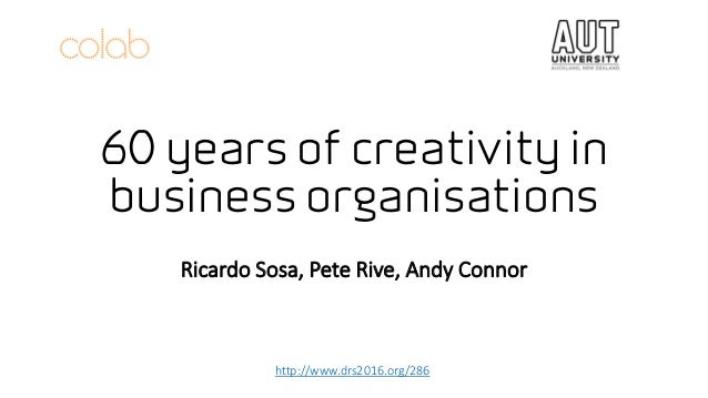 60 years of creativity in business organisations Ricardo Sosa, Pete Rive, Andy Connor http://www.drs2016.org/286
