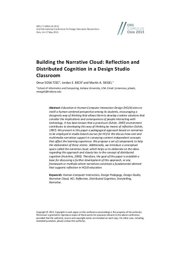 distributed cognition in addition to remembrance analysis paper