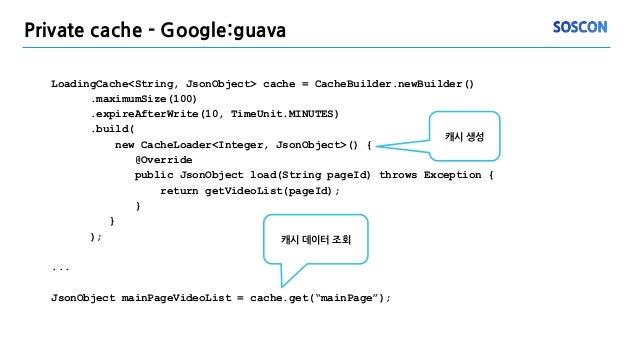Private cache - Google:guava LoadingCache<String, JsonObject> cache = CacheBuilder.newBuilder() .maximumSize(100) .expireA...