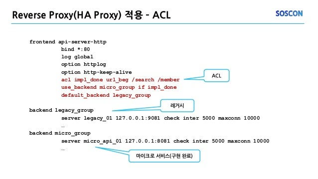 Reverse Proxy(HA Proxy) 적용 – ACL frontend api-server-http bind *:80 log global option httplog option http-keep-alive acl i...
