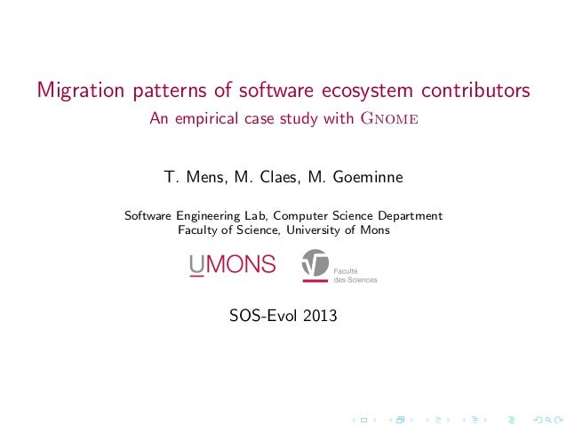Migration patterns of software ecosystem contributors             An empirical case study with Gnome               T. Mens...