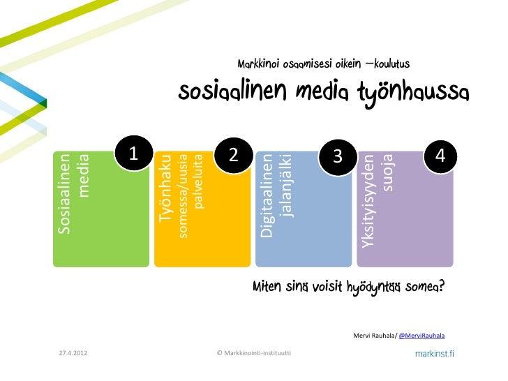 Markkinoi osaamisesi oikein –koulutus                             sosiaalinen media työnhaussa              1             ...