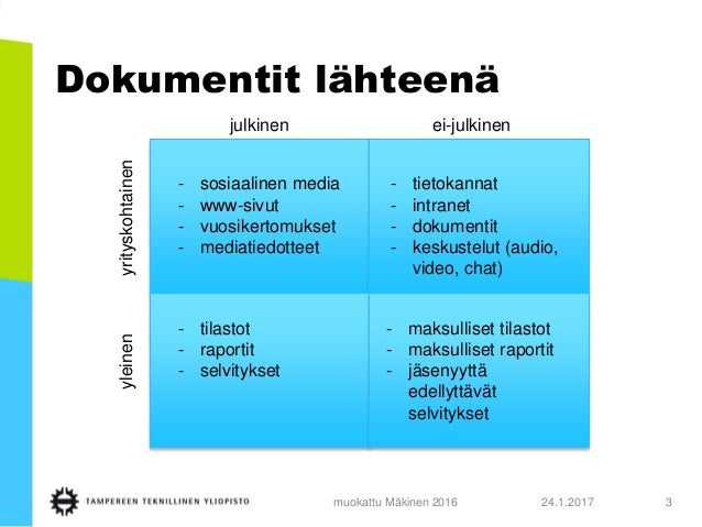 Sosiaalisen median analysointi ja dokumenttipohjainen tutkimus Slide 3