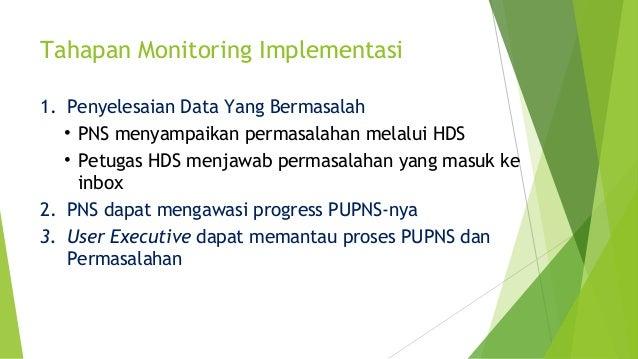 Tahapan Monitoring Implementasi 1. Penyelesaian Data Yang Bermasalah • PNS menyampaikan permasalahan melalui HDS • Petugas...